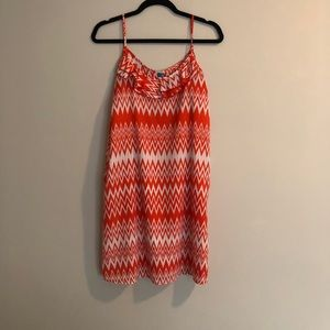 Orange patterned ruffle mini sundress